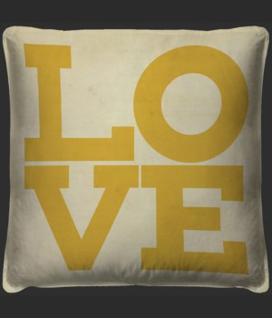 LOVE Yellow on white Pillow