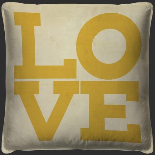 LOVE Yellow on white Pillow