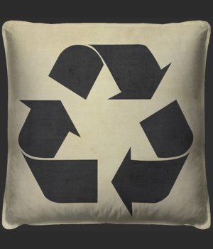 RECYCLE Black on White Pillow