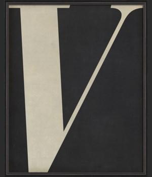 BC Letter V white on black