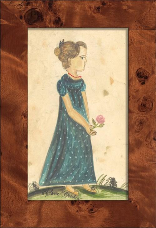 NA Girl in Blue Polkadot Dress Holding Flower
