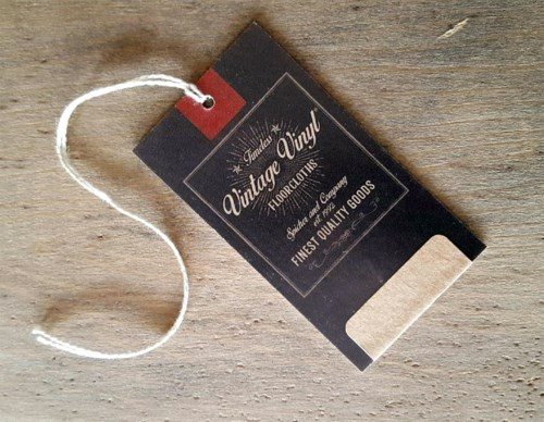 Vintage Vinyl Hang Tags with String – qty 50
