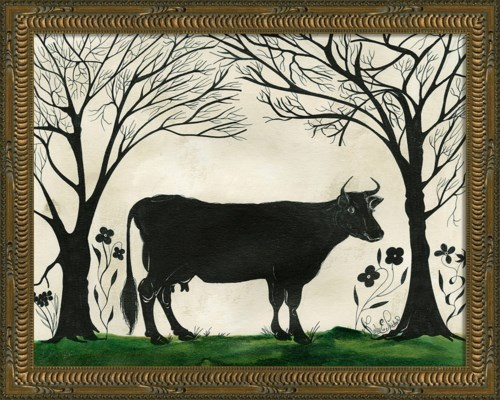 KG Animal Silhouette Cow facing right Sm
