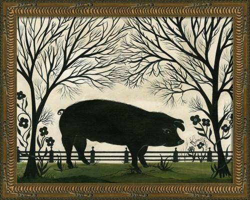 KG Animal Silhouette Pig Facing Right Sm