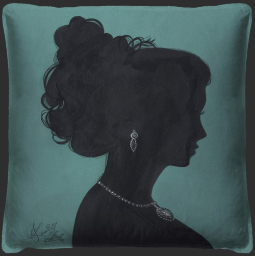 Lady Silhouette 2 Blue Pillow