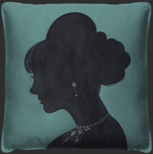 Lady Silhouette 4 Blue Pillow