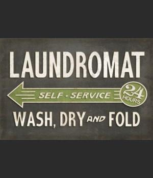 Vintage Vinyl Laundromat Black 24x36