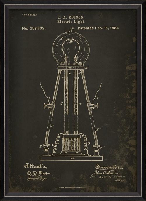 BC Edison Patent US 237732 on Black Sm