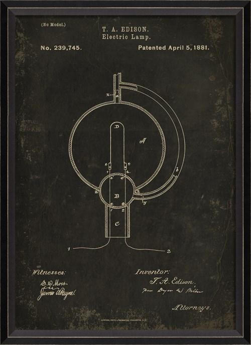 BC Edison Patent US 239745 on Black Sm