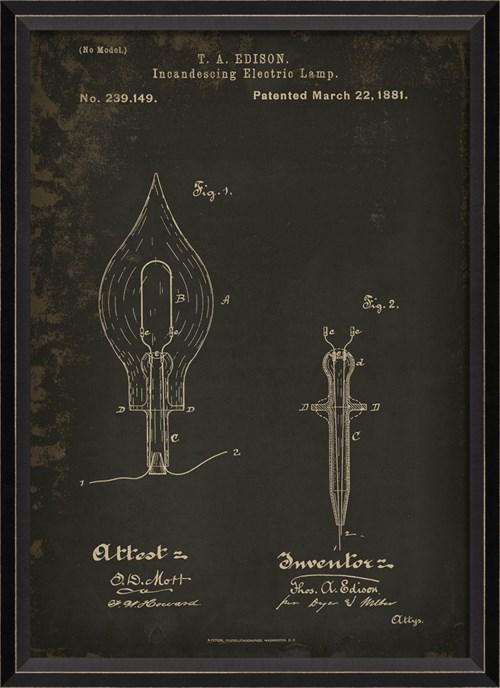 BC Edison Patent US 239149 on Black Sm