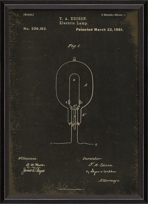 BC Edison Patent US 239153 on Black Sm