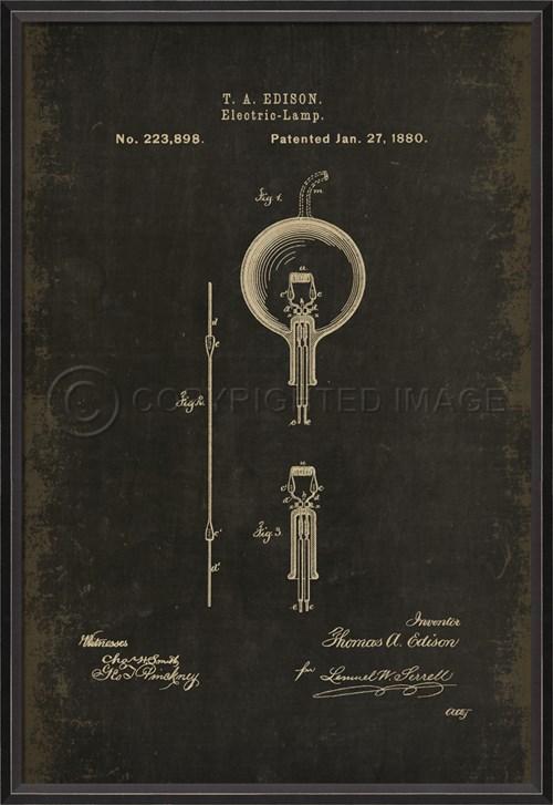 BC Edison Patent US 223898 on Black Md