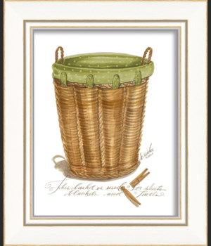 KI Green Lined Towel Basket