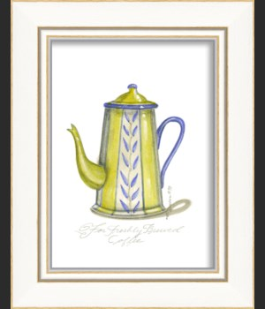 KI Yellow & Blue Coffee Pot