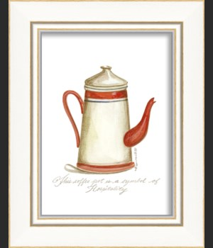 KI Red & White Coffee Pot