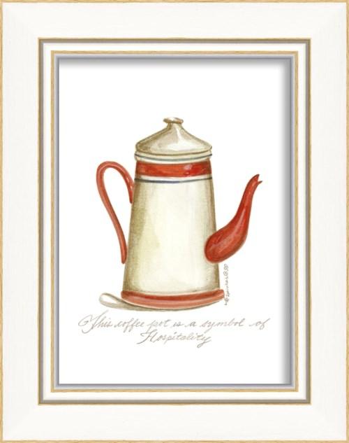 KI Red & White Coffee Pot