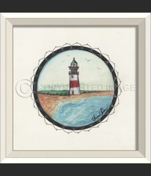WC Porthole to the Red Stripe Lighthouse