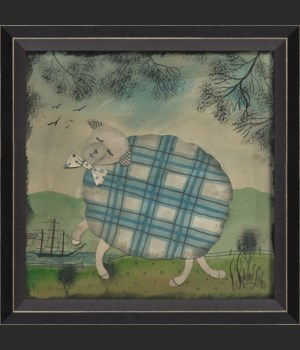 BC Sheep in Blue Plaid