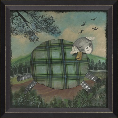 BC Sheep in Green Plaid with Bell
