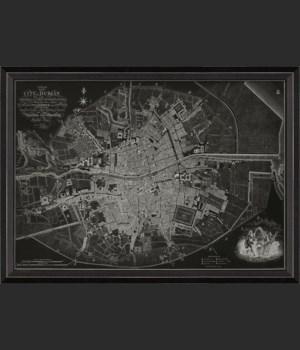 BC Dublin Ireland 1797 Map on Black