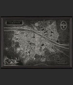 BC Florence Italy Map on Black