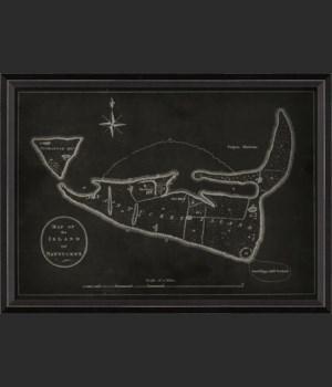 BC Nantucket Island 1782 Map on Black