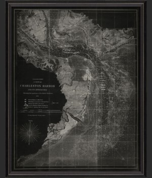 BC Charleston Harbor 1863 Map on Black