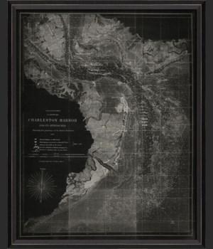 BC Charleston Harbor 1863 Map on Black