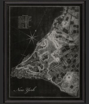 BC New York City 1776 Map on Black