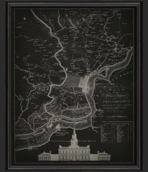 BC Philadelphia 1777 Map on Black
