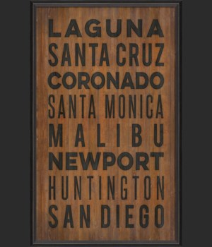 BC California Beach Cities on wood