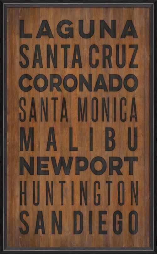 BC California Beach Cities on wood