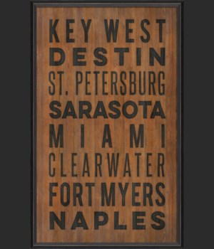 BC Florida Beach Cities on wood