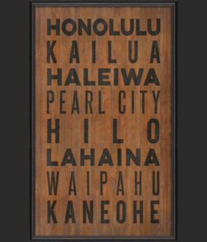 BC Hawaii Beach Cities on wood