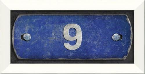 LN Number 9 on blue