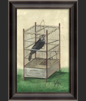 LH Black Bird in Cage