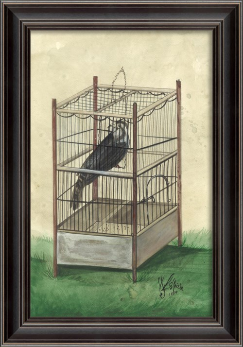 LS Black Bird in Cage