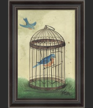 LH Blue Bird in Cage