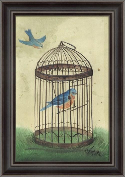 LS Blue Bird in Cage
