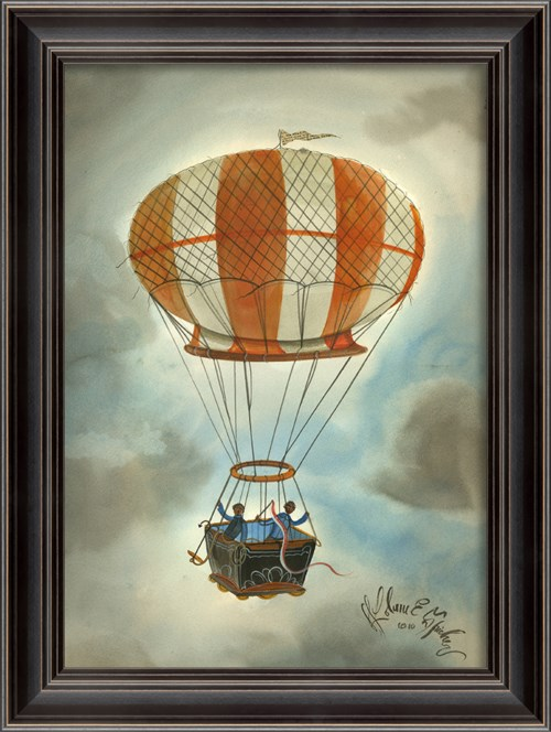 LS Orange and White Striped Hot Air Balloon