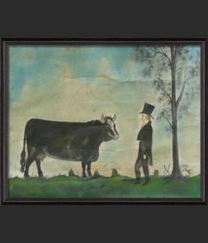 BC Man with Prized Cow Landscape