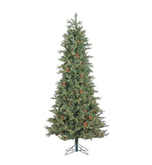 12' Grandview Slim Pine Christmas Tree (w/Pine Cones)
