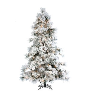 12' Flocked Layer Long Needle Christmas Tree
