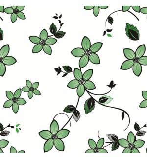 BLK GREEN FLOWER  - PLASTIC ROLL PRINTED 1/ROLL 50YDS