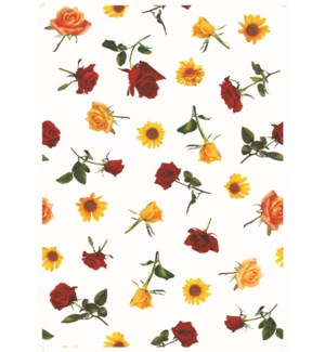 YELLOW/RED ROSE- PLASTIC ROLL PRINTED 1/ROLL 50YDS