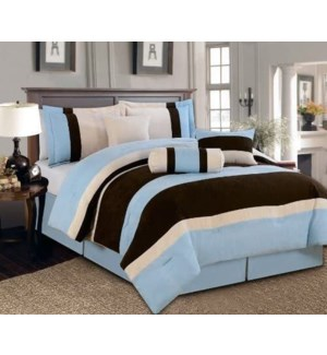 FULL- BLUE 7PC COMFORTER SET- 4/BOX