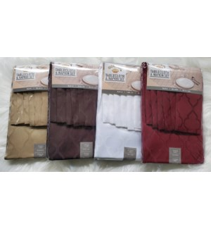 TABLECLOTH WITH NAPKIN SET 52X70''+4N 17X17''ASSORTED 24/BX