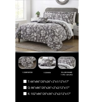 3PC -PRINTED  TWIN  COMFORTER SET- 4SETS/BOX -  ASSORTED