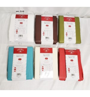 """52""""X70"""" SOLID COLOR PEVA FLANNEL BACK TABLECLOTH - 48PC/BOX (ASSORTED COLORS)"""