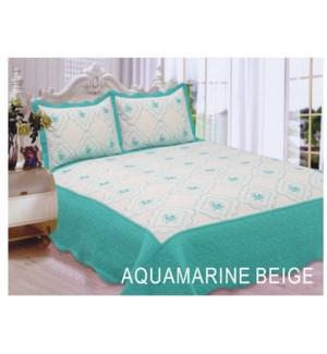 QUEEN BED SPREAD AQUA/BEIGE 8/BX